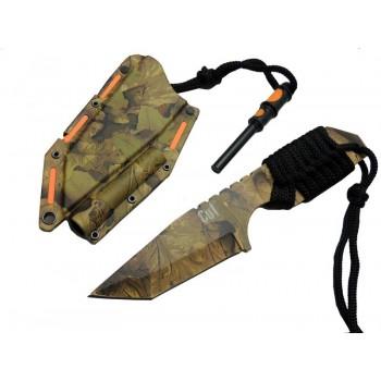 CUT knives - F5 - Kamufulaj- Magnezyum çubuklu, paracord saplı bıçak